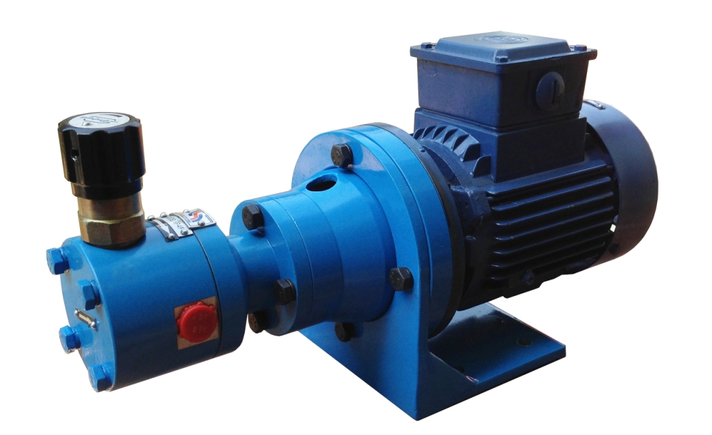 With Pump having inbuilt relief valve and flange mounted motor