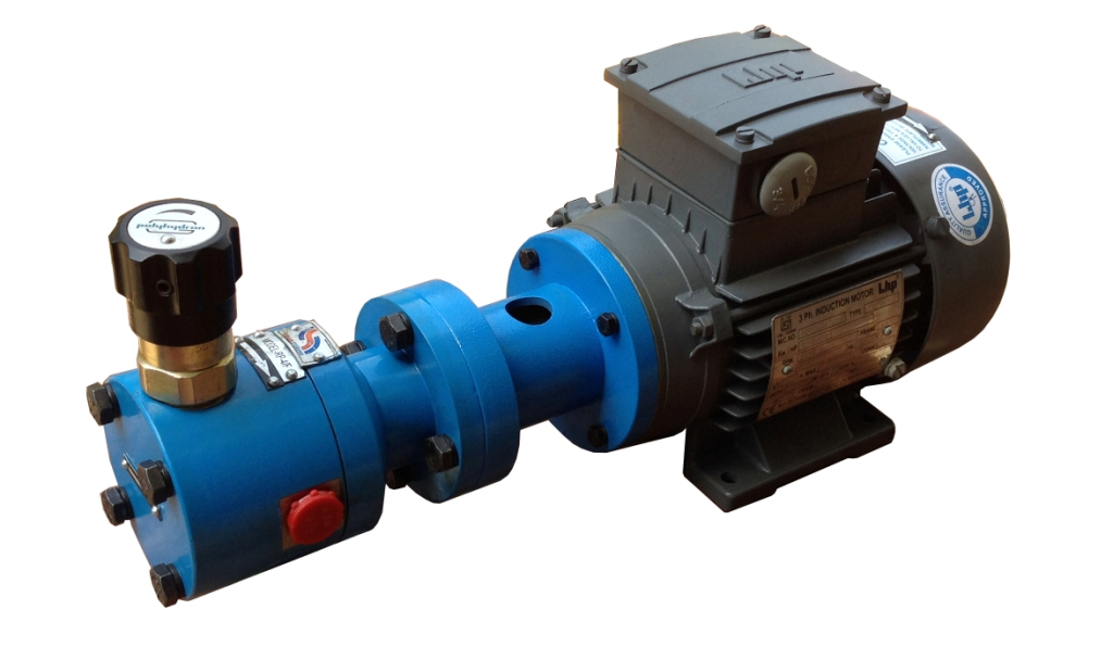 With Pump having inbuilt relief valve and foot cum face mounted motor